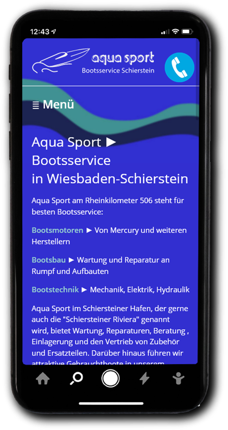 WebDesign Referenz Homepage AquaSport Wiesbaden
